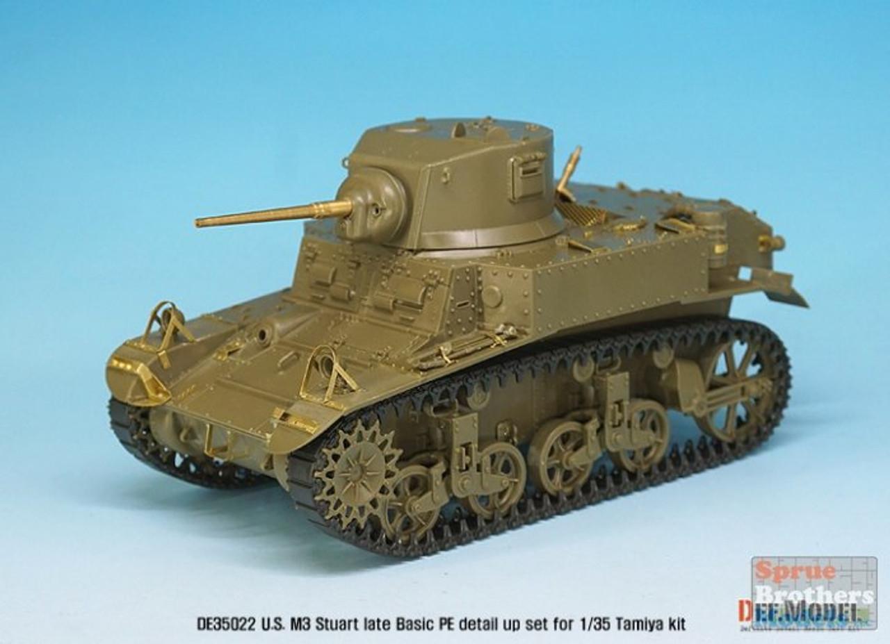 DEFDE35022 1:35 DEF Model US M3 Stuart Late Basic PE & Gun Barrel Set (TAM kit)
