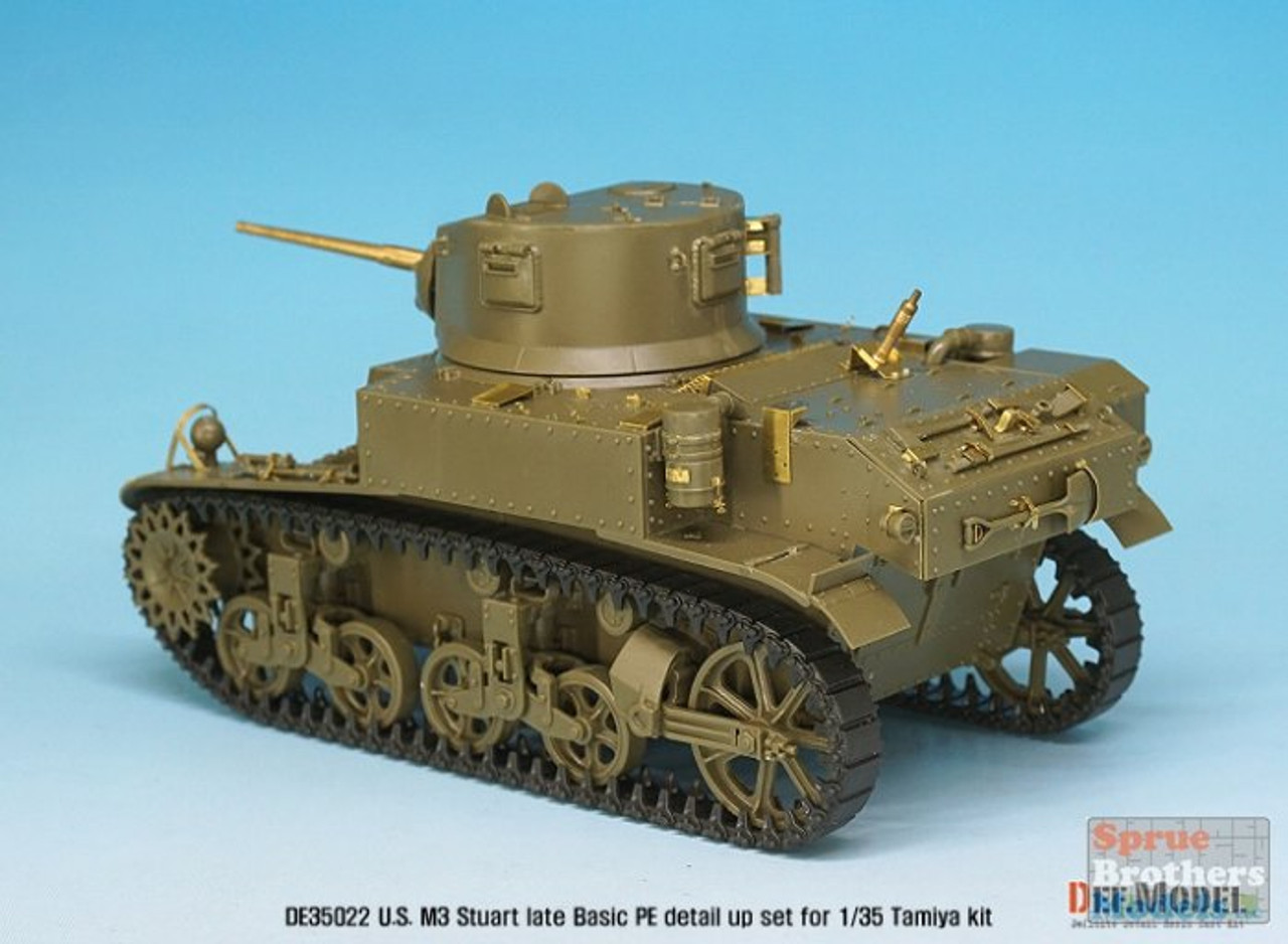 DEFDE35022 1:35 DEF Model US M3 Stuart Late Basic PE & Gun Barrel Set (TAM kit)