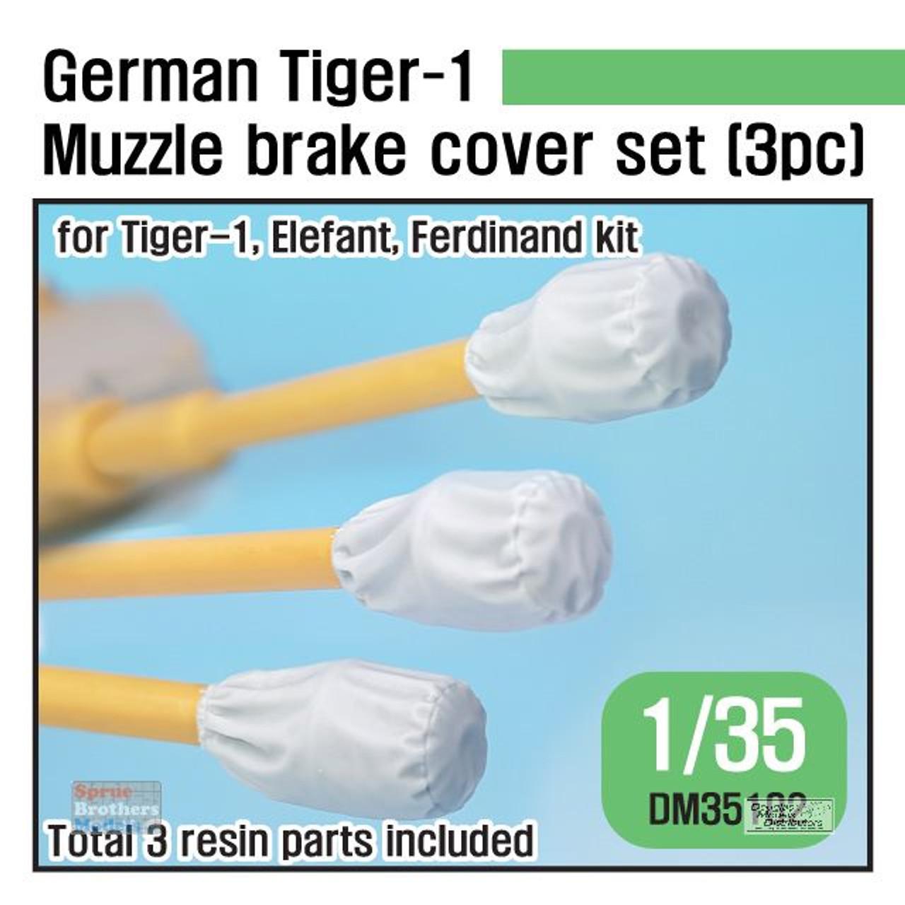 DEFDM35102 1:35 DEF Model German Tiger 1/Elefant/Ferdinand Muzzle Brake Cover Set (3 pcs)