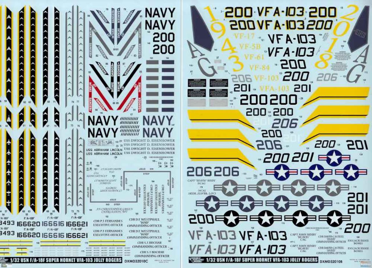 DXM91-3308 1:32 DXM Decals F-18F Super Hornet VFA-103 Jolly Rogers