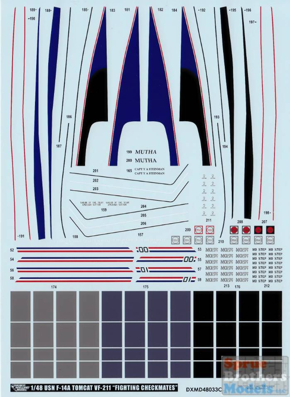 DXM91-4338 1:48 DXM Decals F-14A Tomcat VF-211 Fighting Checkmates