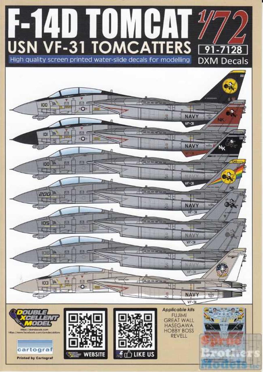 DXM91-7128 1:72 DXM Decals F-14D Tomcat VF-31 Tomcatters