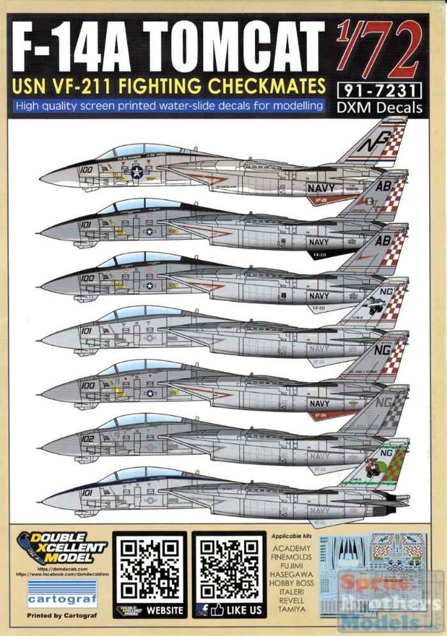DXM91-7231 1:72 DXM Decals F-14A Tomcat VF-211 Fighting Checkmates