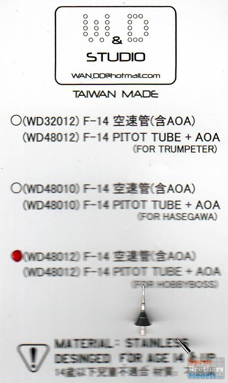 DXMWDS48012 1:48 DXM / W&D Studio - F-14 Tomcat Pitot Tube and AOA (Stainless Steel) (HBS kit)