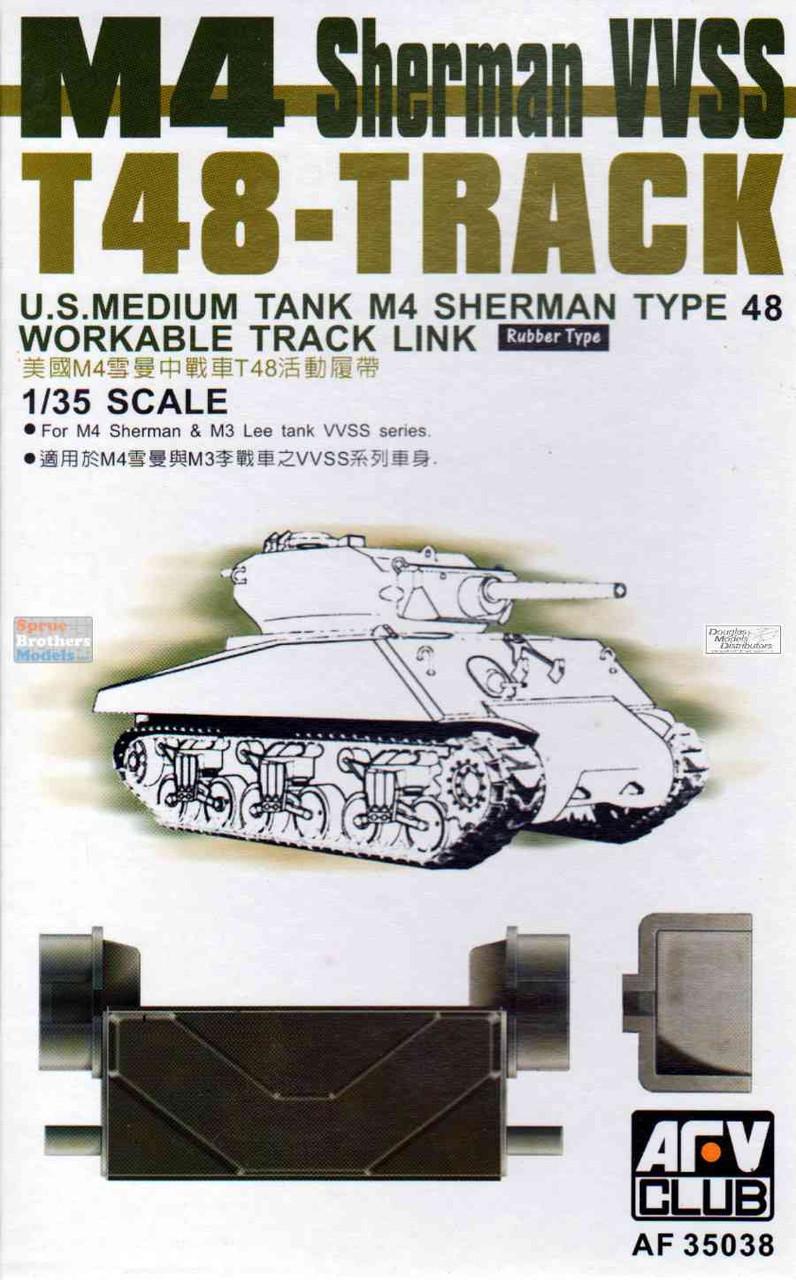 AFV35038 1:35 AFV Club M4 Sherman M3 Lee VVSS T48 Track Rubber Type