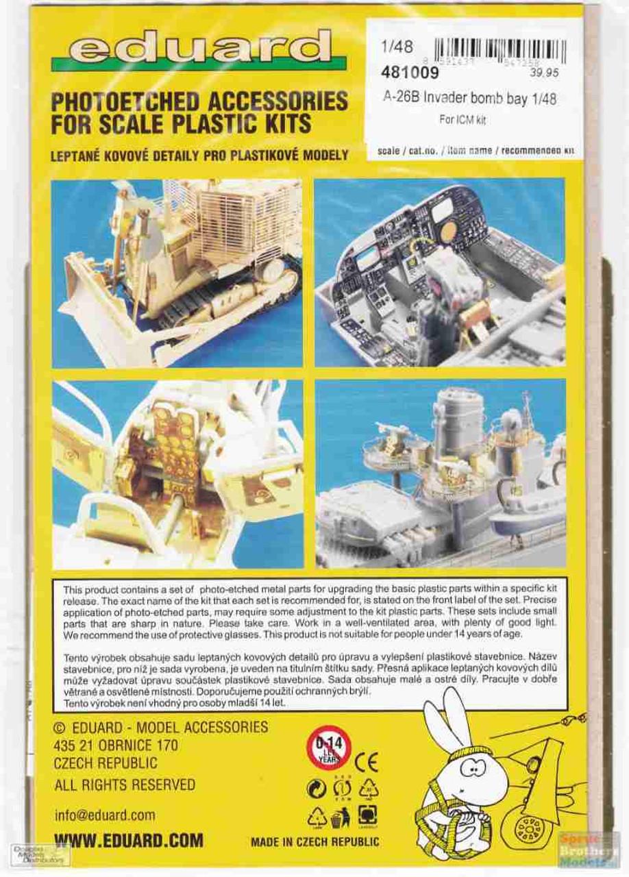 EDU481009 1:48 Eduard PE - A-26B Invader Bomb Bay Detail Set (ICM kit)