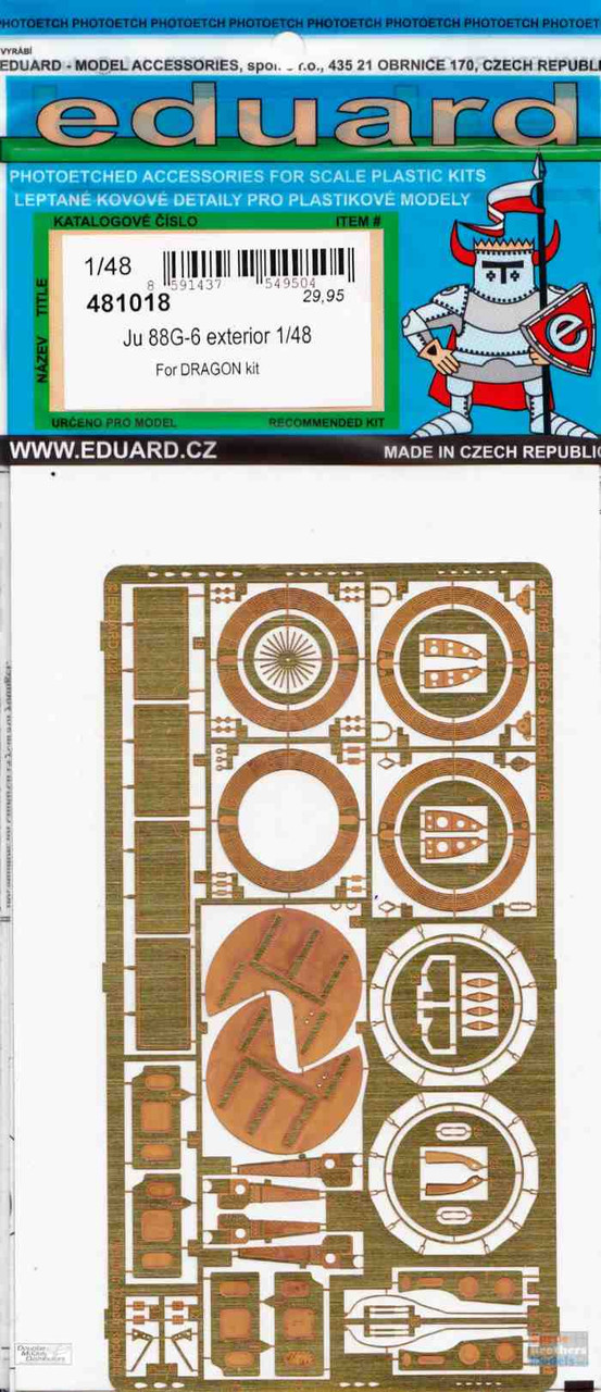EDU481018 1:48 Eduard PE - Ju 88G-6 Exterior Detail Set (DRA kit)