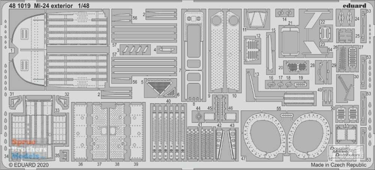 EDU481019 1:48 Eduard PE - Mi-24 Hind Exterior Detail Set (ZVE kit)