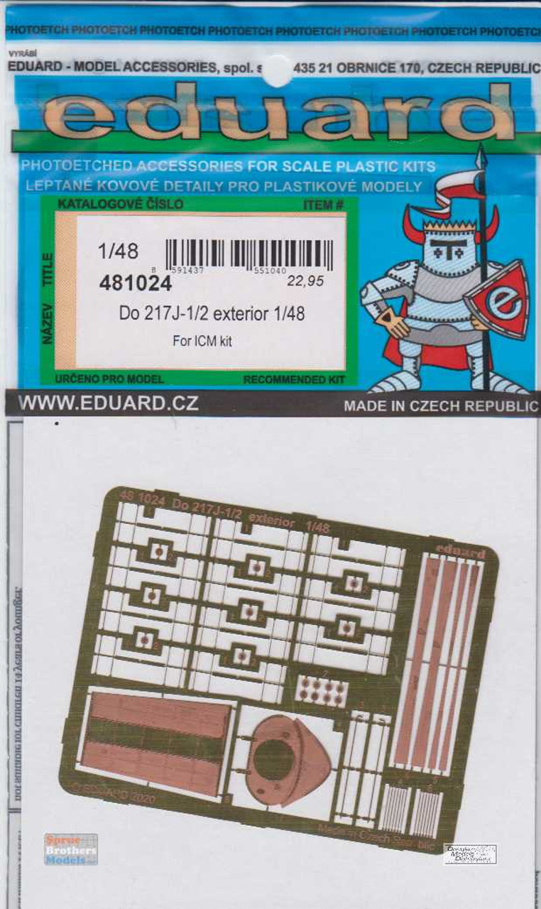EDU481024 1:48 Eduard PE -  Do 217J-1/2 I Exterior Detail Set (ICM kit)