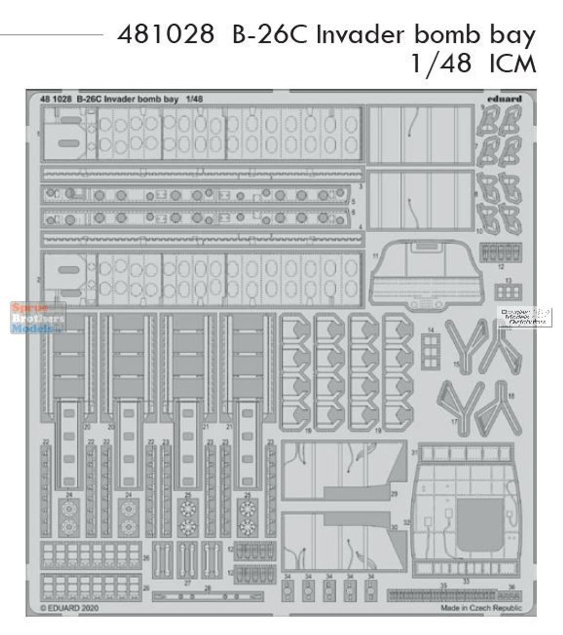 EDU481028 1:48 Eduard PE -  B-26C Invader Bomb Bay Detail Set (ICM kit)