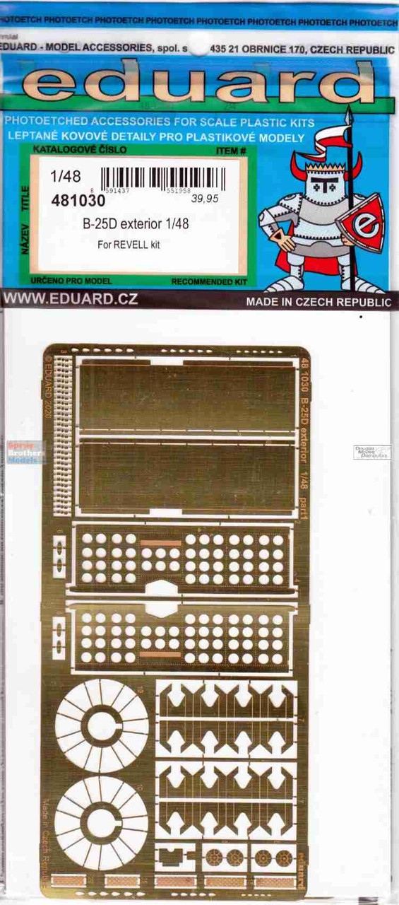 EDU481030 1:48 Eduard PE -  B-25D Mitchell Exterior Detail Set (REV kit)