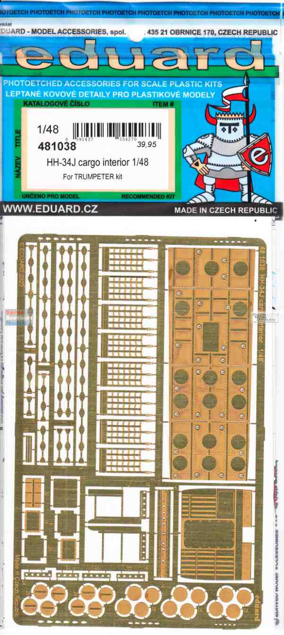 EDU481038 1:48 Eduard PE -  HH-34J Choctaw Cargo Interior Detail Set (TRP kit)