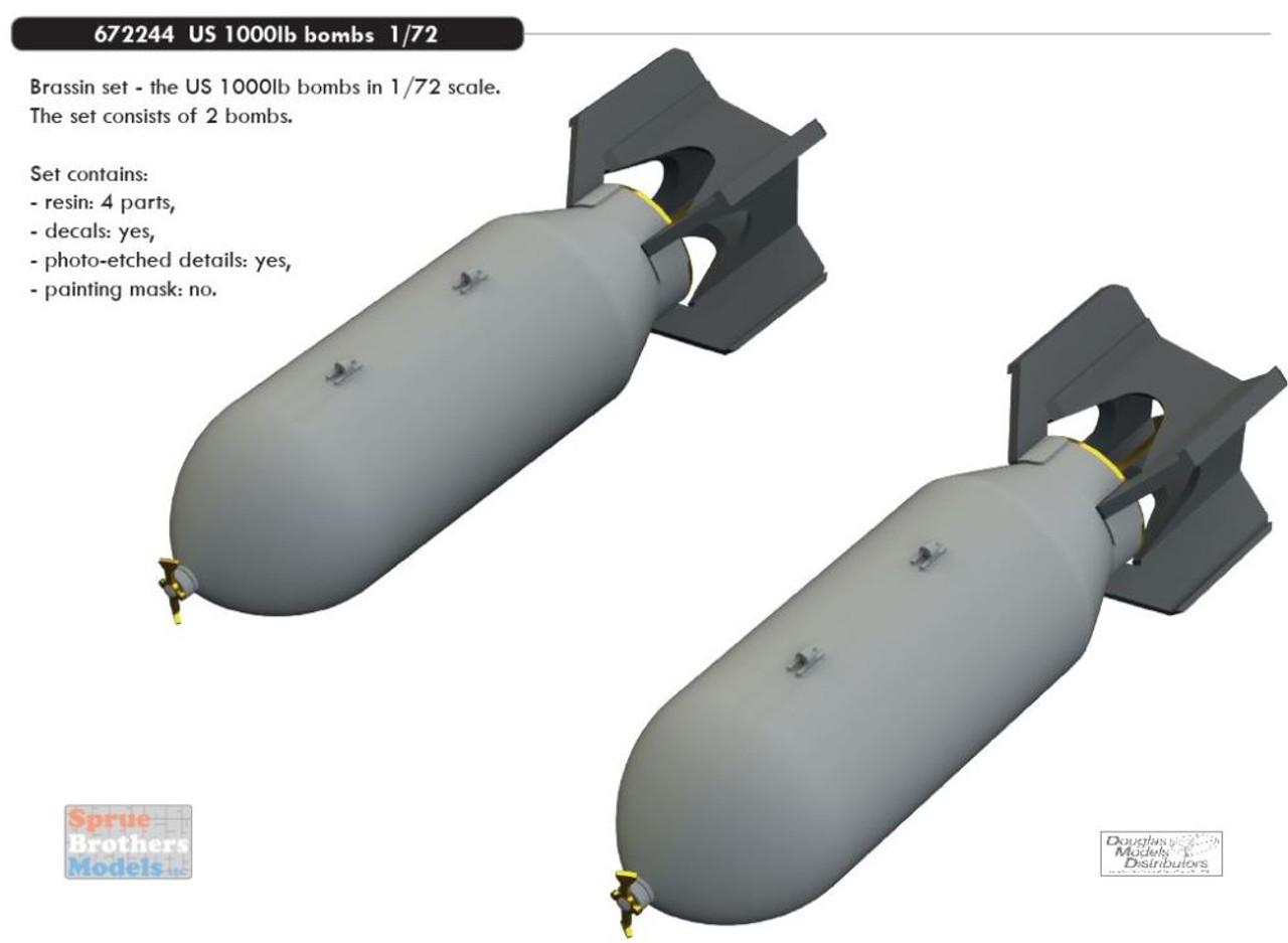 EDU672244 1:72 Eduard Brassin US 1000lb Bomb Set