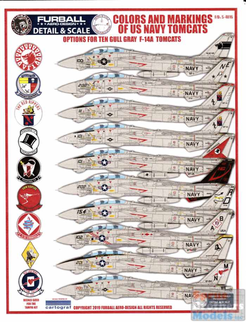 FURDS4816 1:48 Furball Aero Design Gull Gray F-14A Tomcats 'Colors and Markings of US Navy Tomcats' Part VIII