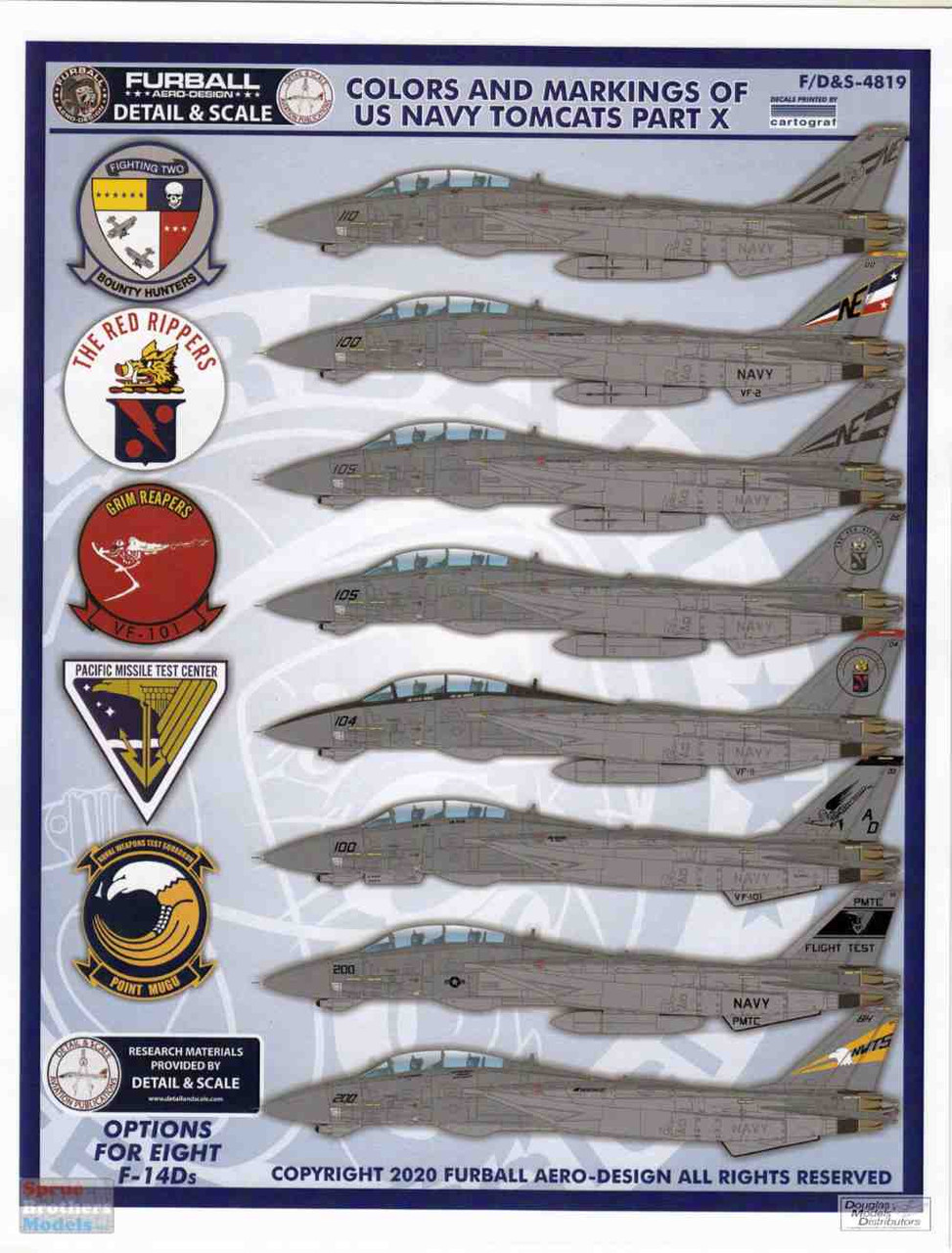 FURDS4819 1:48 Furball Aero Design F-14D Tomcat 'Colors and Markings of US Navy Tomcats' Part X