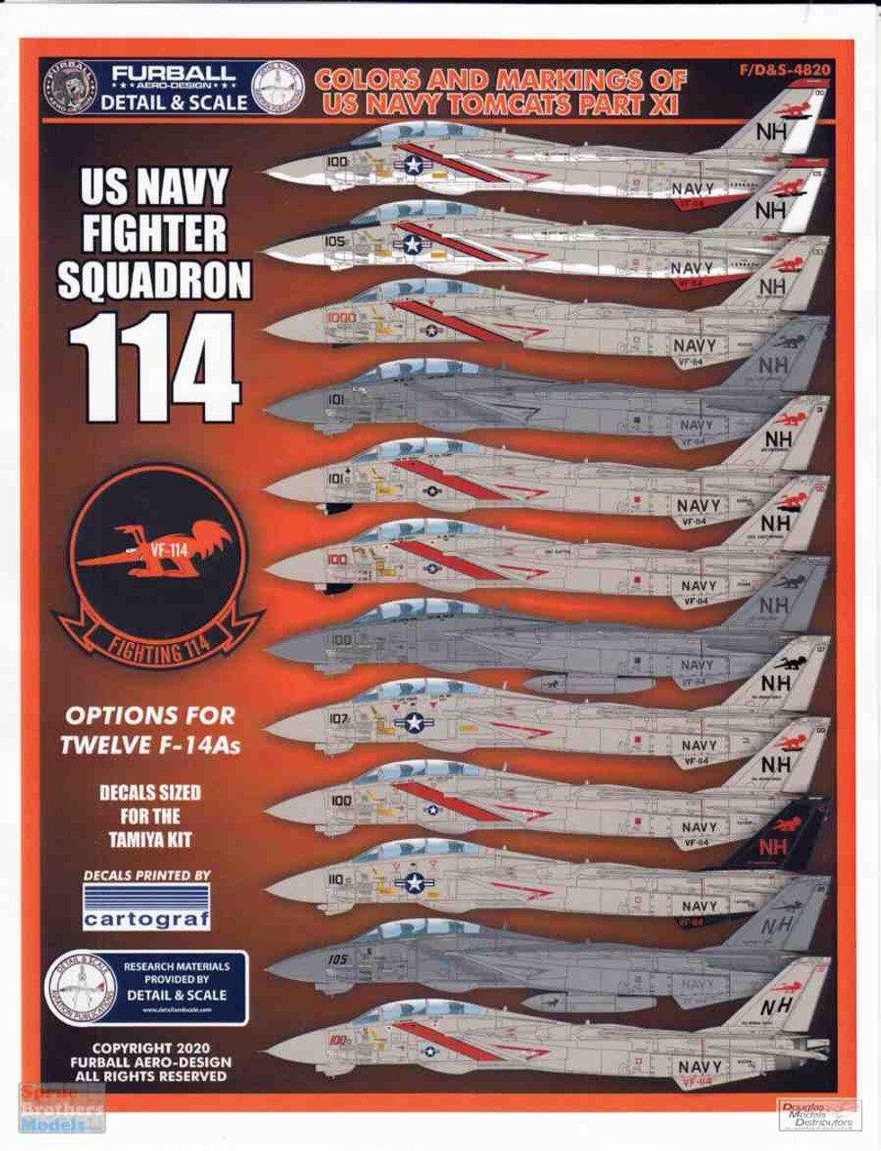 FURDS4820 1:48 Furball Aero Design F-14A Tomcat 'Colors and Markings of US Navy Tomcats' Part XI US Navy Fighter Squadron 114 VF-111 Aardvarks
