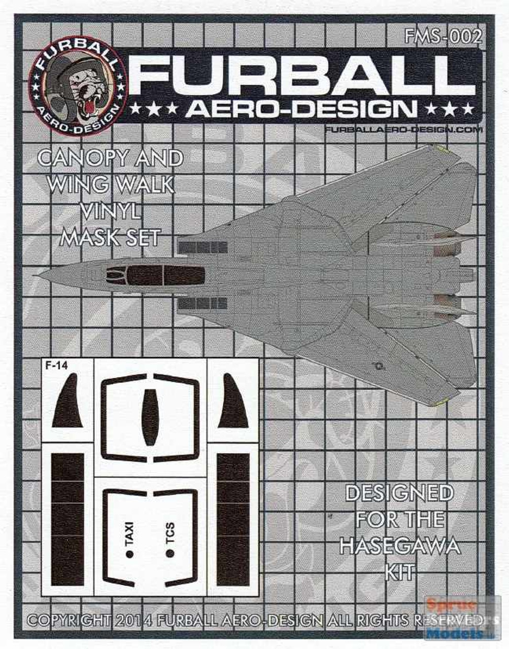 FURFMS002 1:48 Furball Aero Design Canopy & Wing Walk Vinyl Mask Set for F-14 Tomcat (HAS kit)