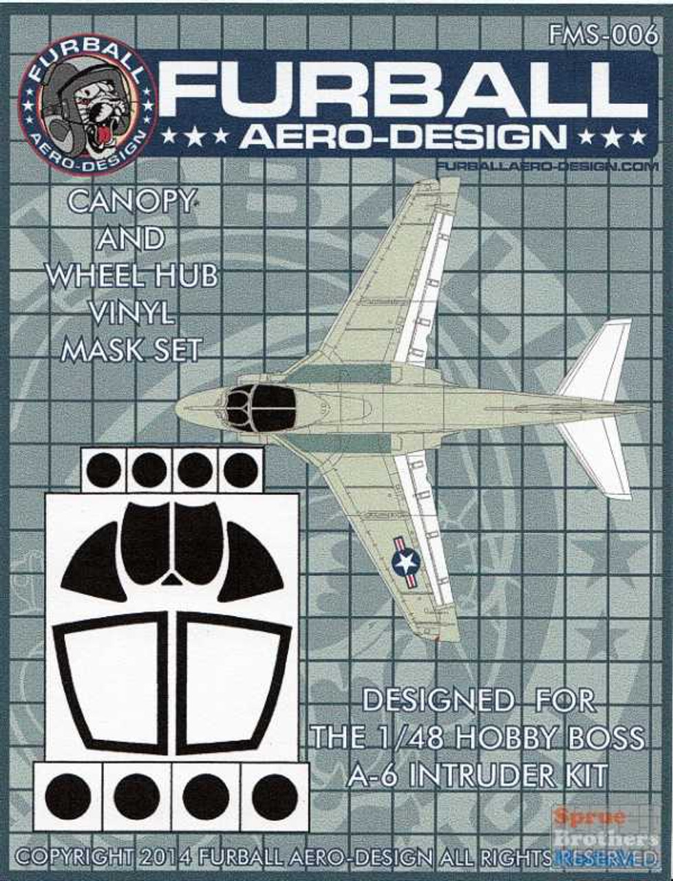 FURFMS006 1:48 Furball Aero Design Canopy & Wheel Hub Vinyl Mask Set for A-6 Intruder (HBS kit)