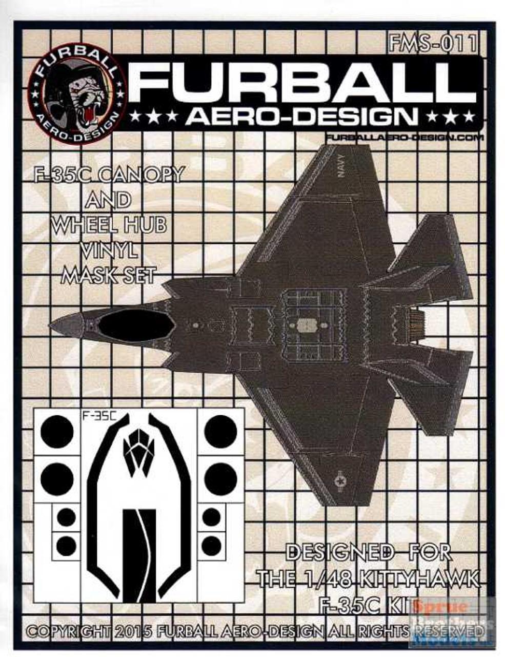 FURFMS011 1:48 Furball Aero Design Canopy & Wheel Hub Vinyl Mask Set for F-35C Lightning II (KTH kit)