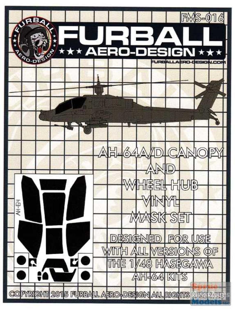 FURFMS016 1:48 Furball Aero Design Canopy & Wheel Hub Vinyl Mask Set for AH-64A AH-64D Apache (HAS kit)