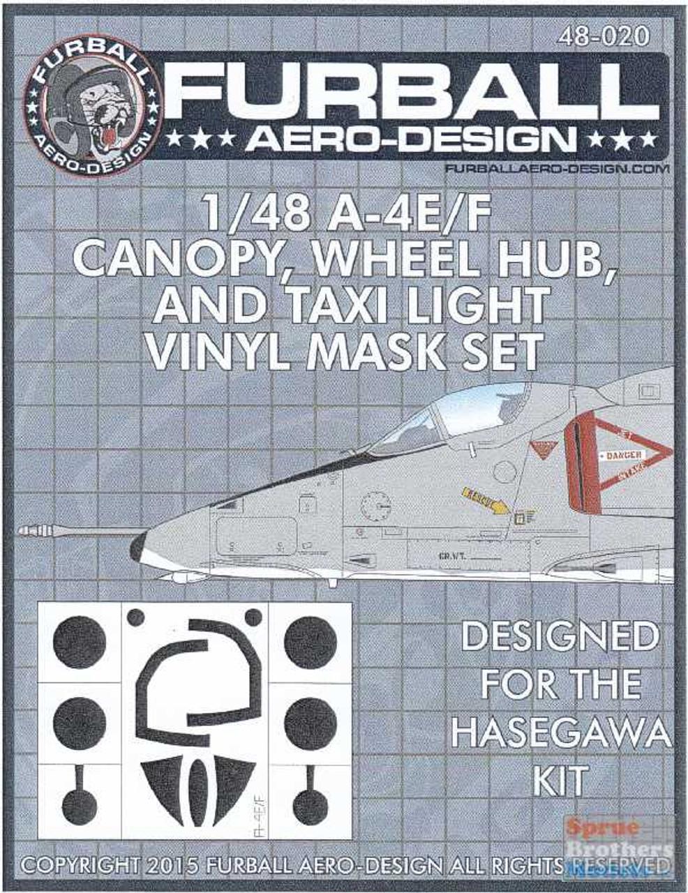 FURFMS020 1:48 Furball Aero Design Canopy, Wheel Hub and Taxi Light Vinyl Mask Set for A-4E A-4F Skyhawk (HAS kit)