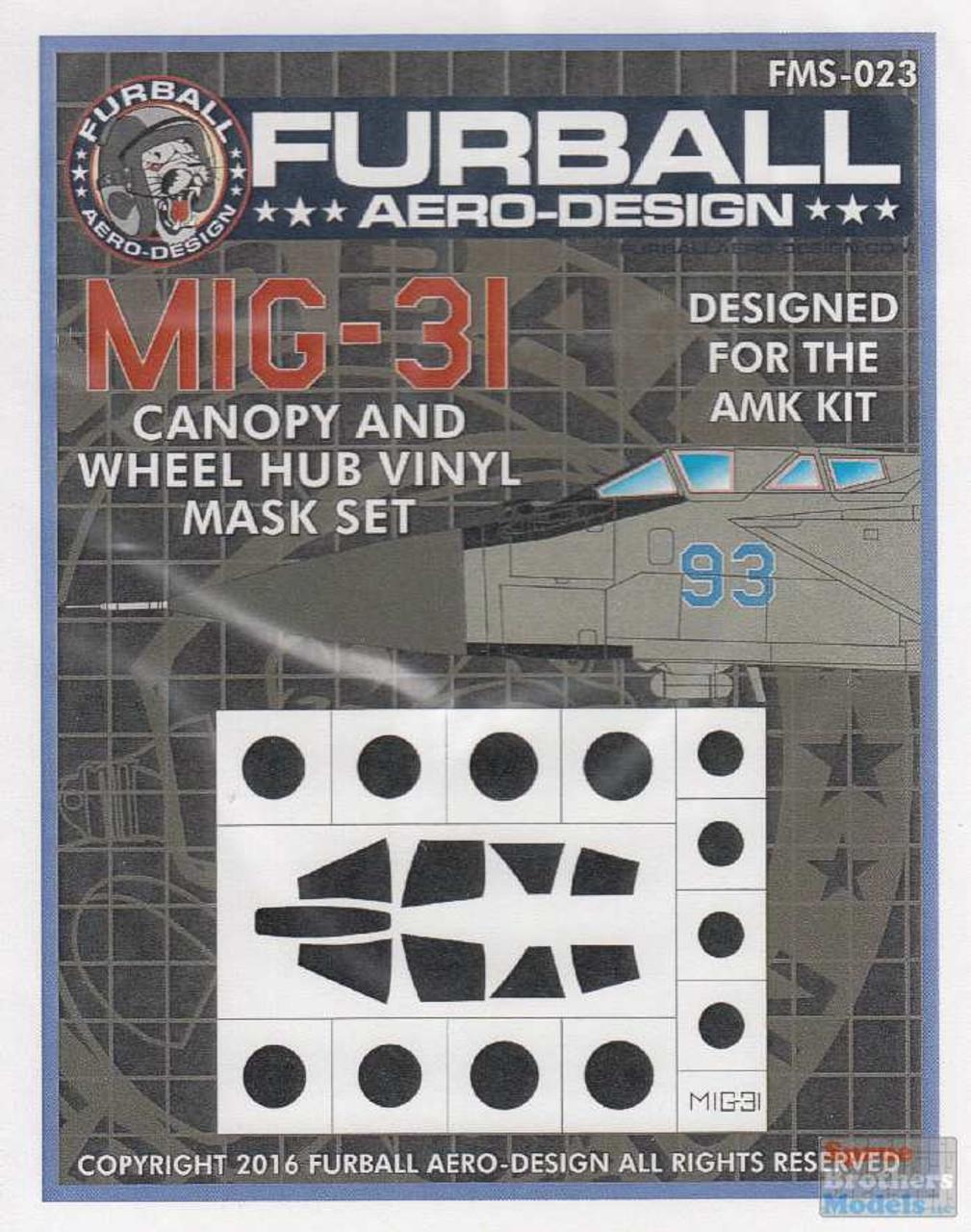 FURFMS023 1:48 Furball Aero Design Canopy and Wheel Hub Vinyl Mask Set for MiG-31 Foxhound (AMK kit)