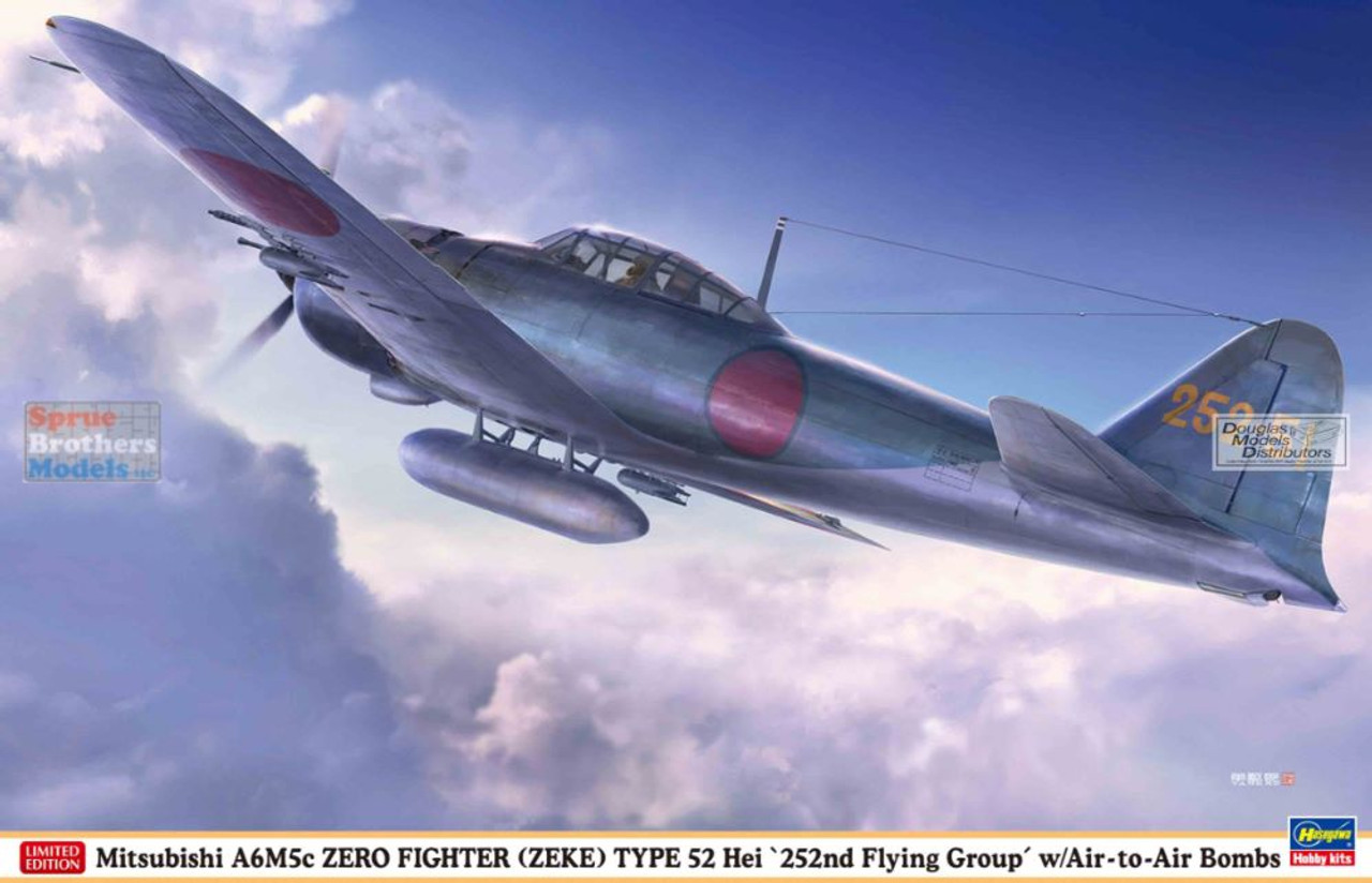 HAS08257 1:32 Hasegawa Mitsubishi A6M5c Zero Fighter Type 52 Hei '252nd Flying Group' with Air-to-Air Bombs'