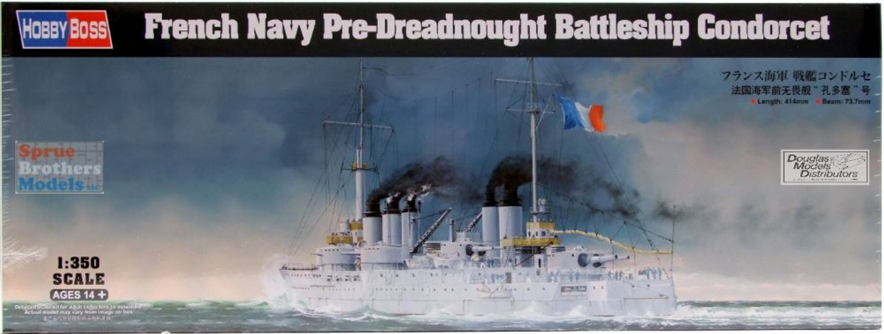 HBS86505 1:350 Hobby Boss French Navy Pre-Dreadnought Battleship Cordorcet