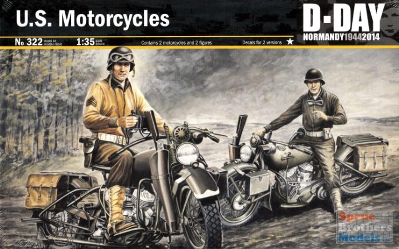 ITA0322 1:35 Italeri US Motorcycles D-Day 1944