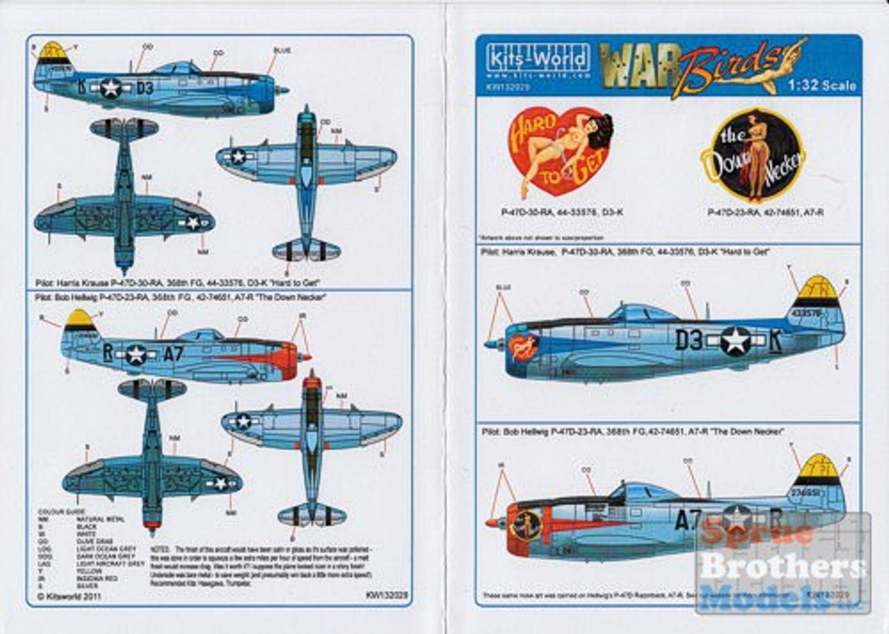 KSW132029 1:32 Kits-World Decals - P-47D Thunderbolt Hard to Get & The Down Necker #132029