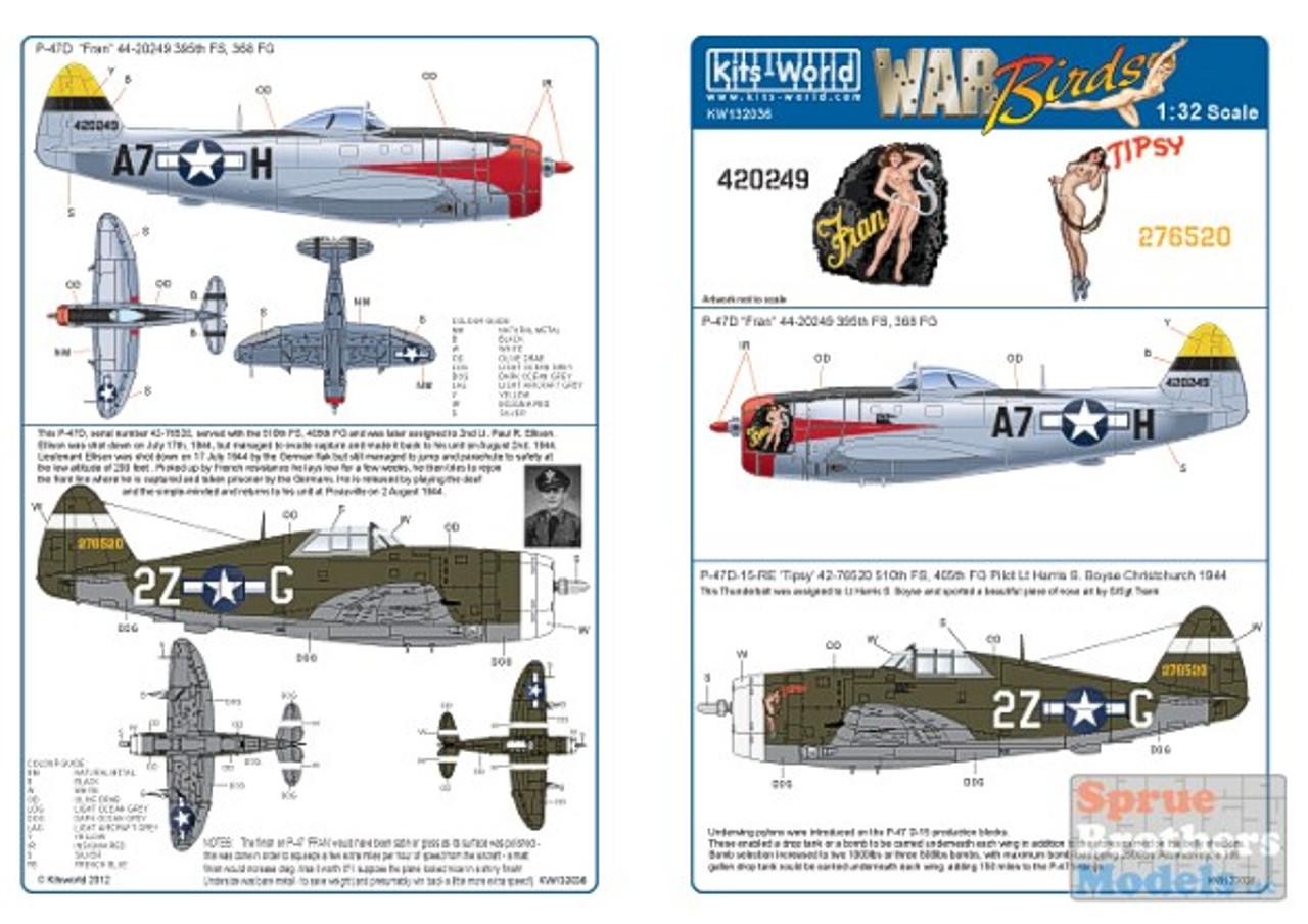 KSW132036 1:32 Kits-World Decals - P-47D Thunderbolt Fran & Tipsy #132036