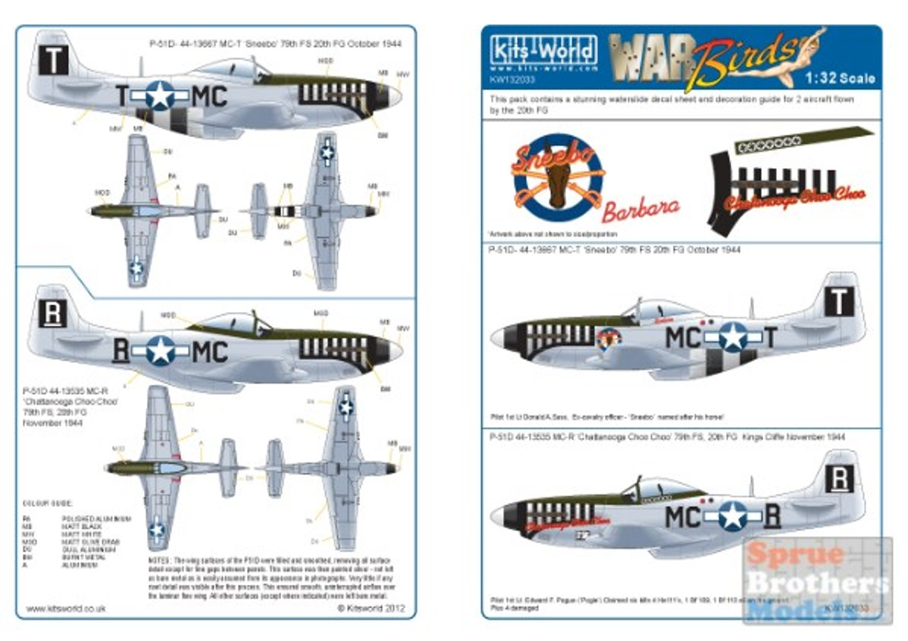 KSW132033 1:32 Kits-World Decals P-51D Mustang Barbara & Chatanooga Choo Choo