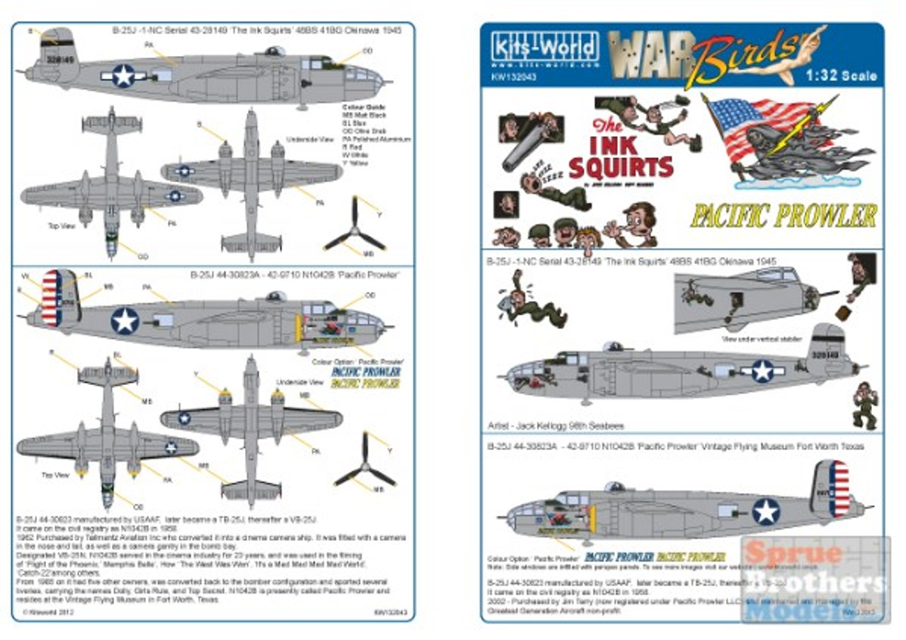 KSW132043 1:32 Kits-World Decals B-25J Mitchell Ink Squirts & Pacific Prowler