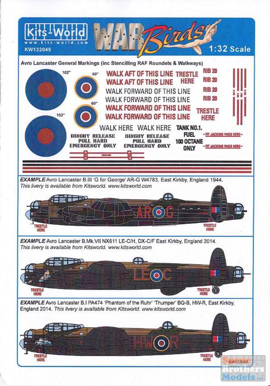 KSW132049 1:32 Kits-World Decals - Lancaster General Markings