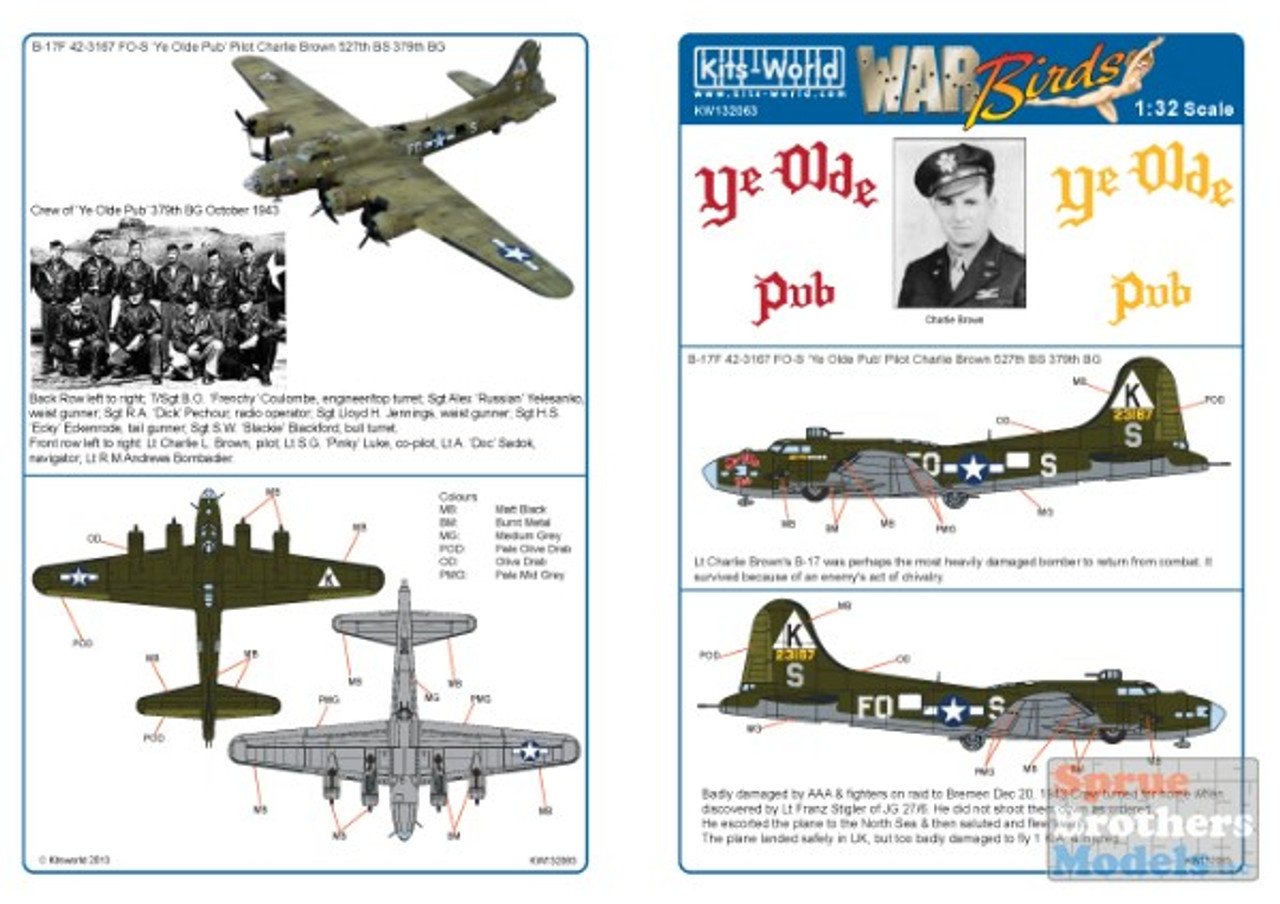 KSW132063 1:32 Kits-World Decals B-17F Flying Fortress Ye Olde Pub