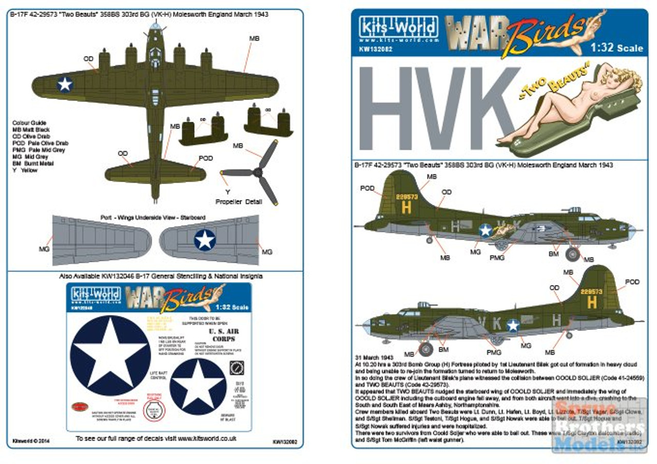 "KSW132082 1:32 Kits-World Decals - B-17F Flying Fortress 'Two Beauts"" 358BS 303BG"