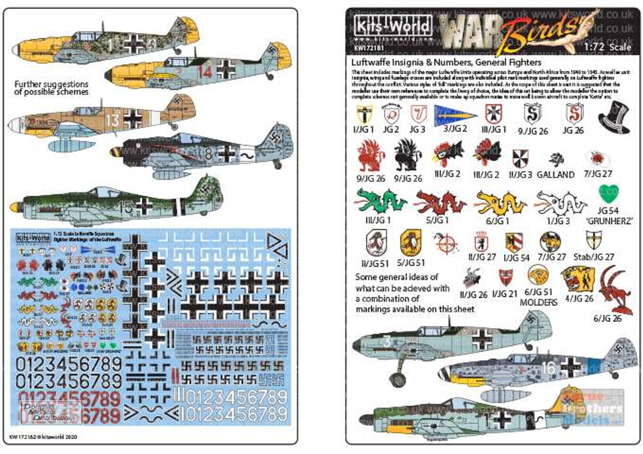 KSW172181 1:72 Kits-World Decals Luftwaffe Insignia & Numbers: General Fighters