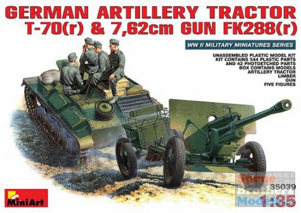 MIA35039 1:35 MiniArt German Artillery Tractor T-70(r) & 7.62cm Gun FK288(r) w/Crew