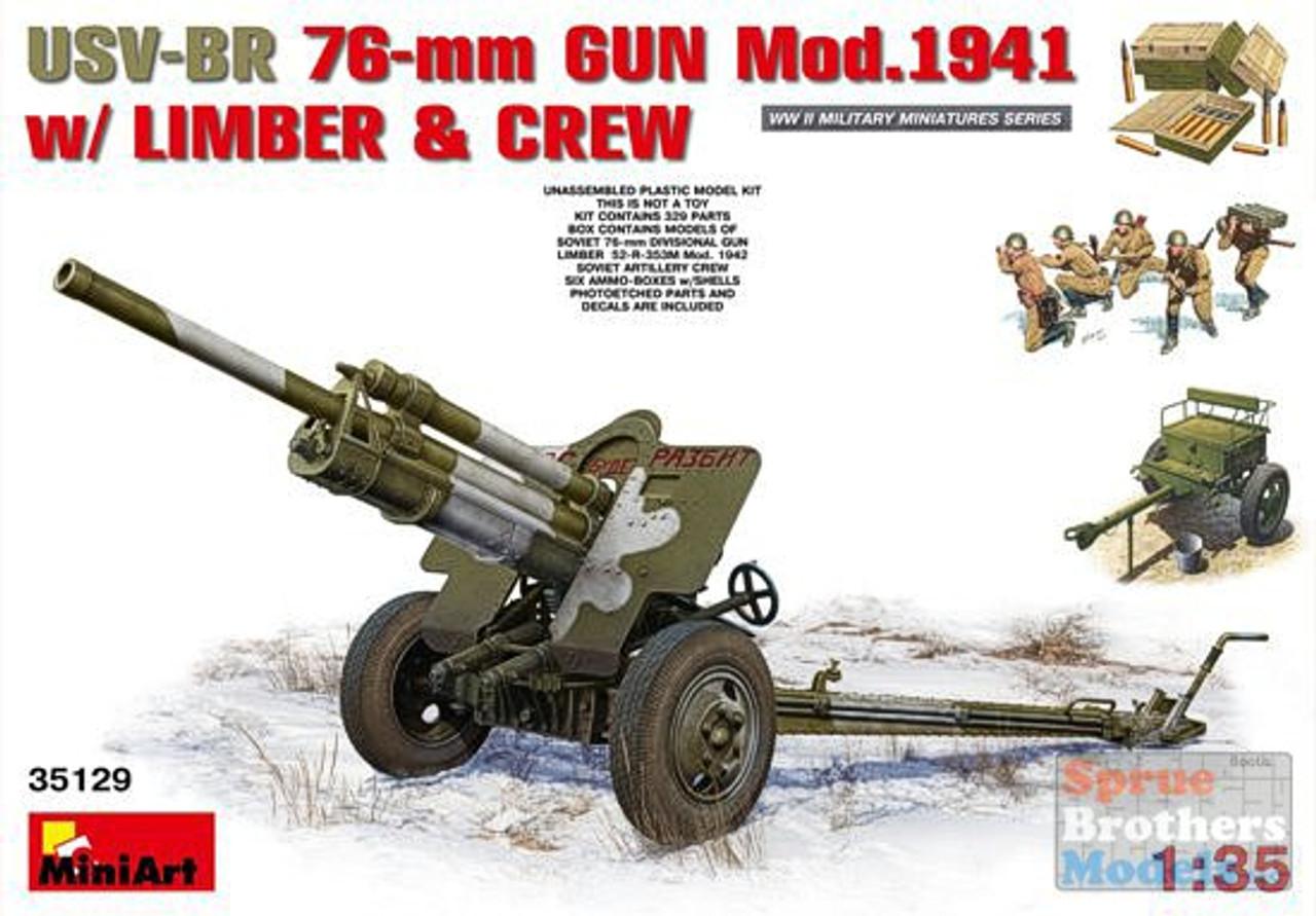 MIA35129 1:35 MiniArt USV-BR 76mm Gun Mod 1941 with Limber & Crew