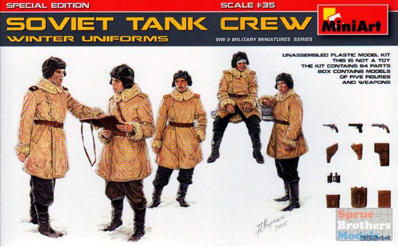 MIA35244 1:35 MiniArt Soviet Tank Crew Winter Uniforms Figure Set (5 figures)