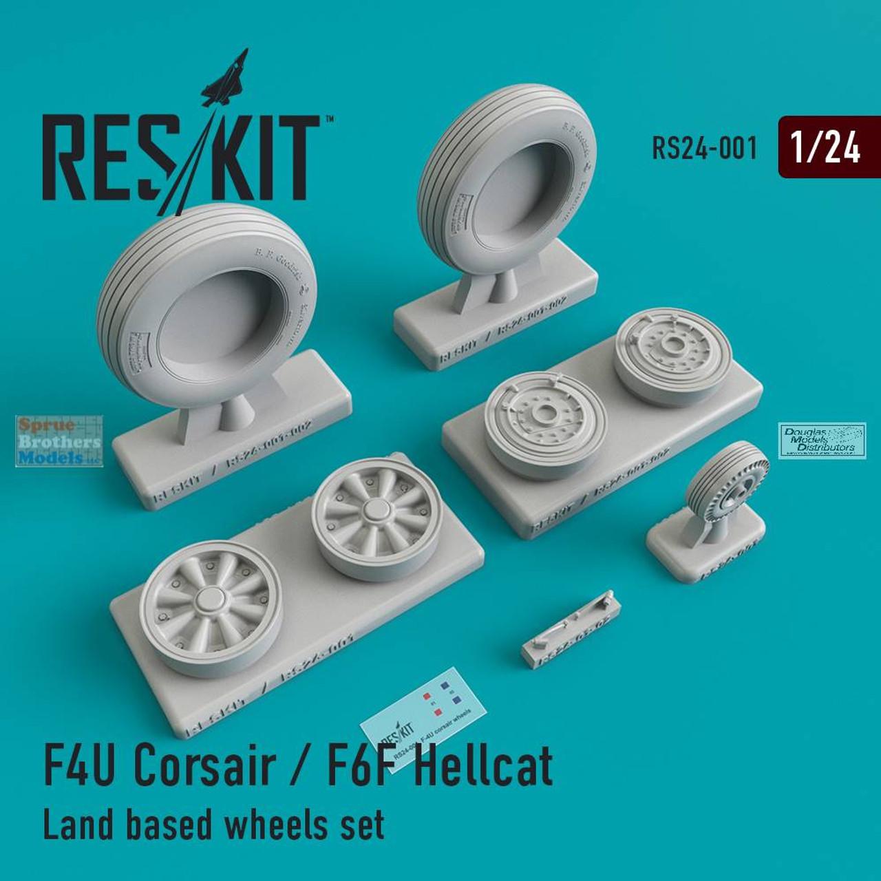 RESRS240001 1:24 ResKit F4U Corsair / F6F Hellcat Land-Based Wheels Set