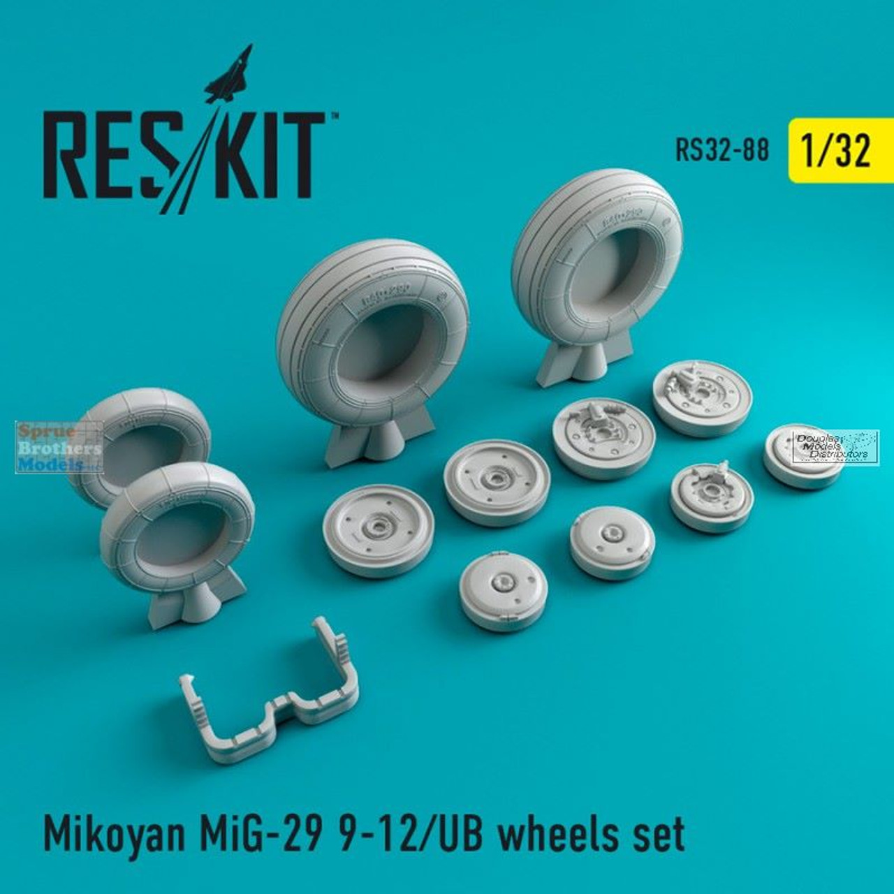 RESRS320088 1:32 ResKit MiG-29UB Fulcrum (9-12) Wheels Set