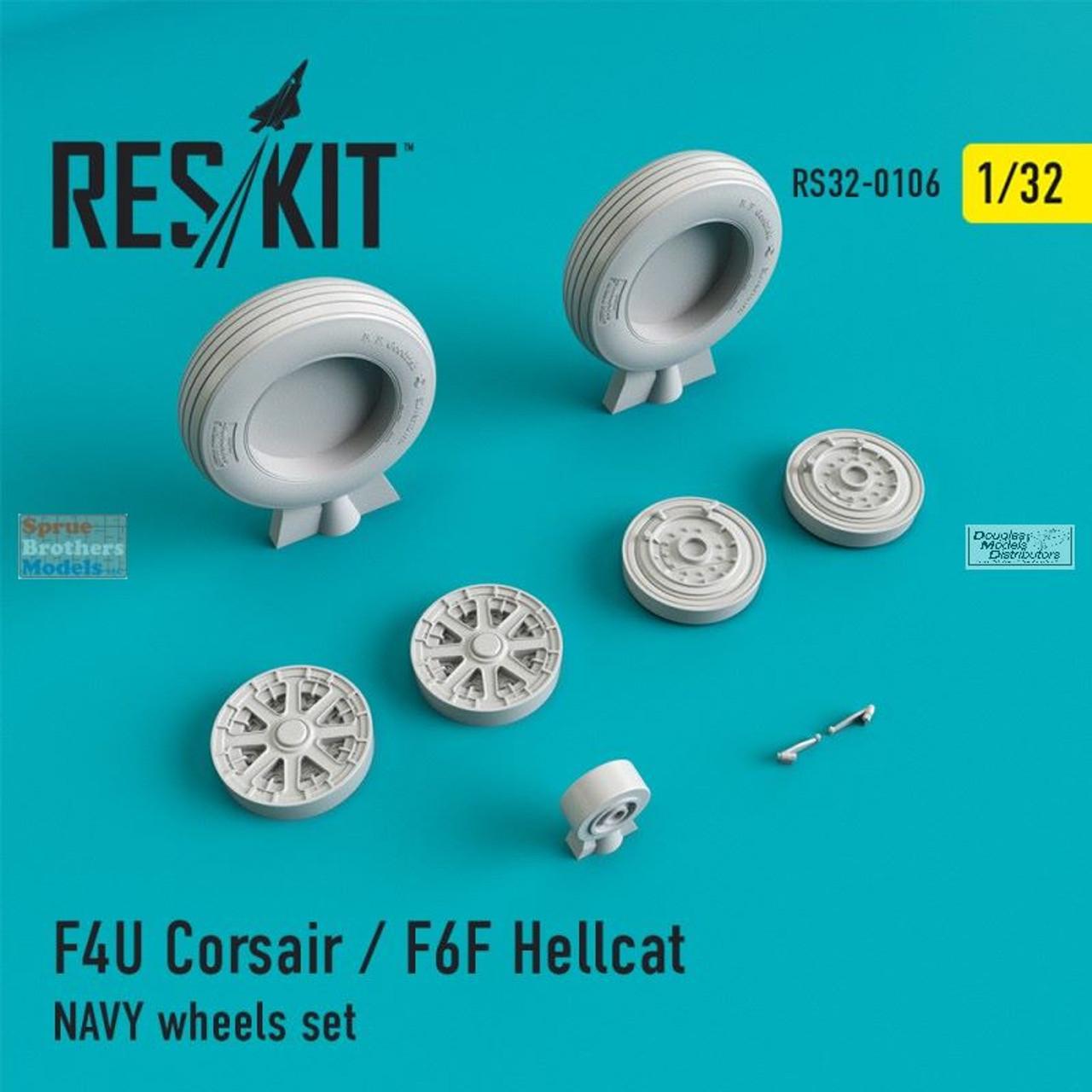 RESRS320106 1:32 ResKit F4U Corsair / F6F Hellcat Navy Wheels Set