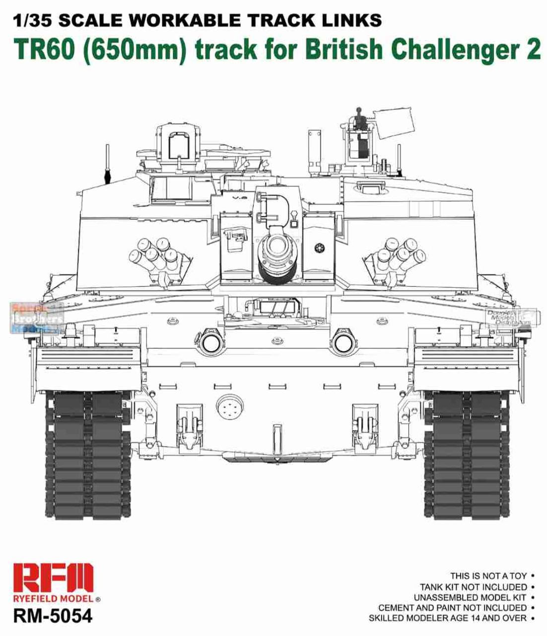RFMRM5054 1:35 Rye Field Model British Challenger 2 TR60 41 4FS Workable Track Links Set