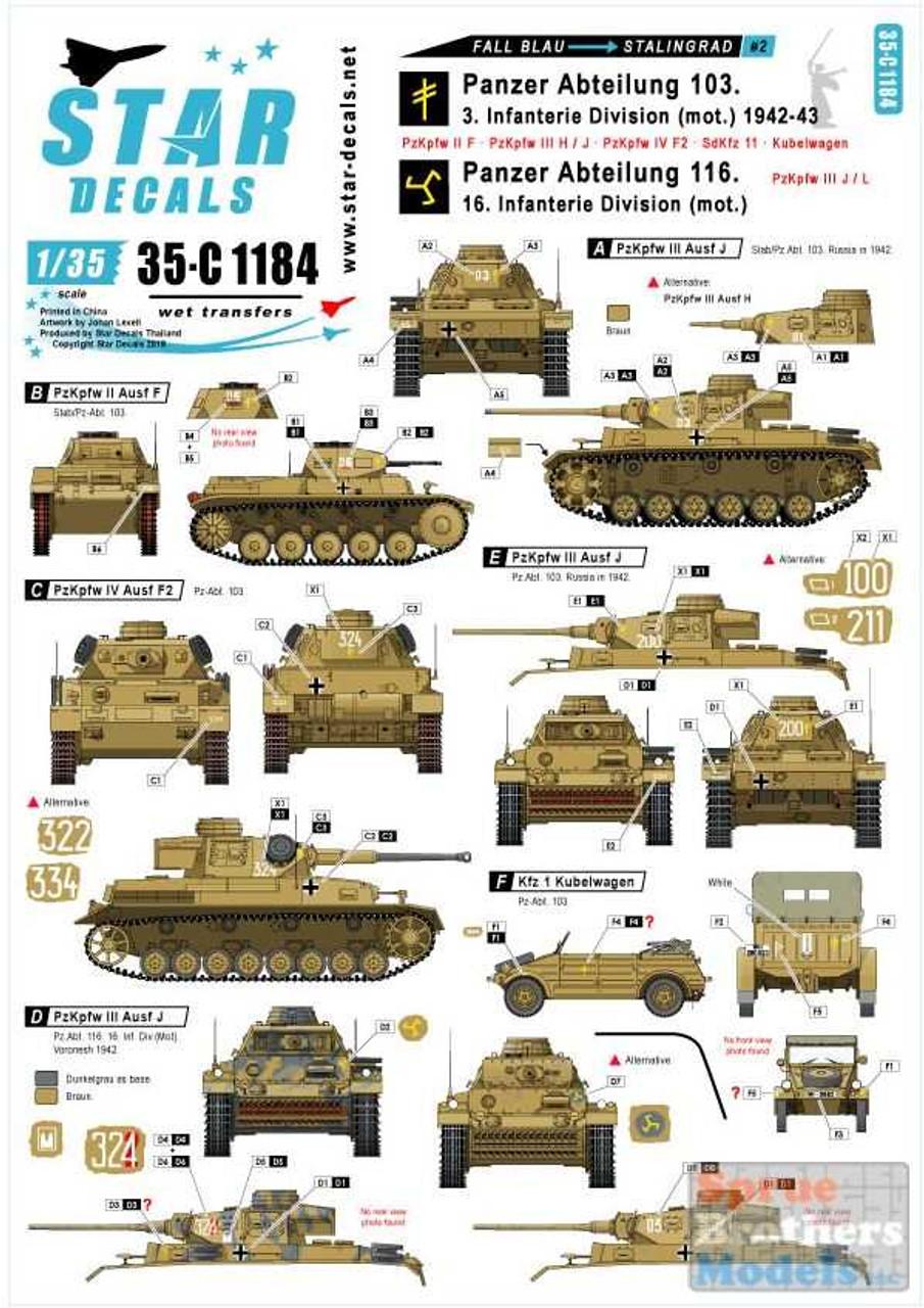 SRD35C1184 1:35 Star Decals - Fall Blau and Stalingrad #2: Panzer Abteilung 106 / 116