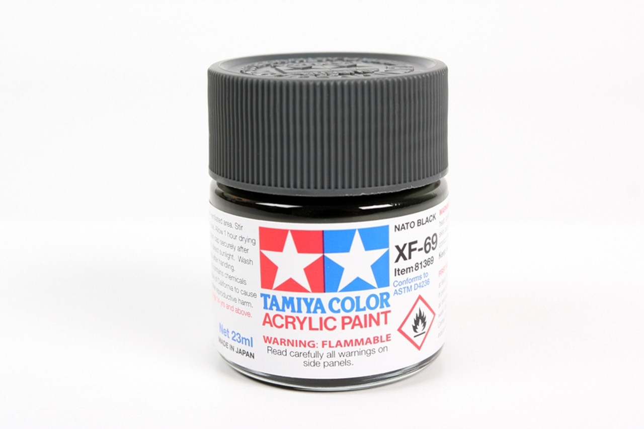 TAM81369 Tamiya Acrylic Paint XF-69 Flat NATO Black 23ml #81369