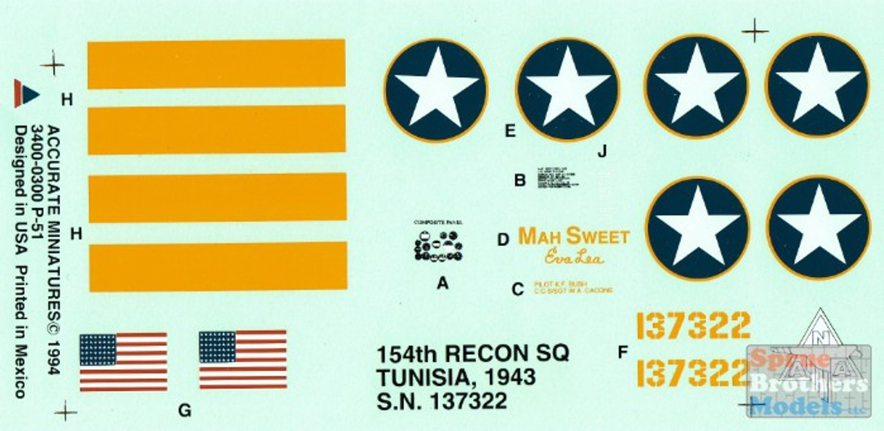 ACMD3400 1:48 Accurate Miniatures Decals - P-51 Mustang 154RQ Tunisia 1943