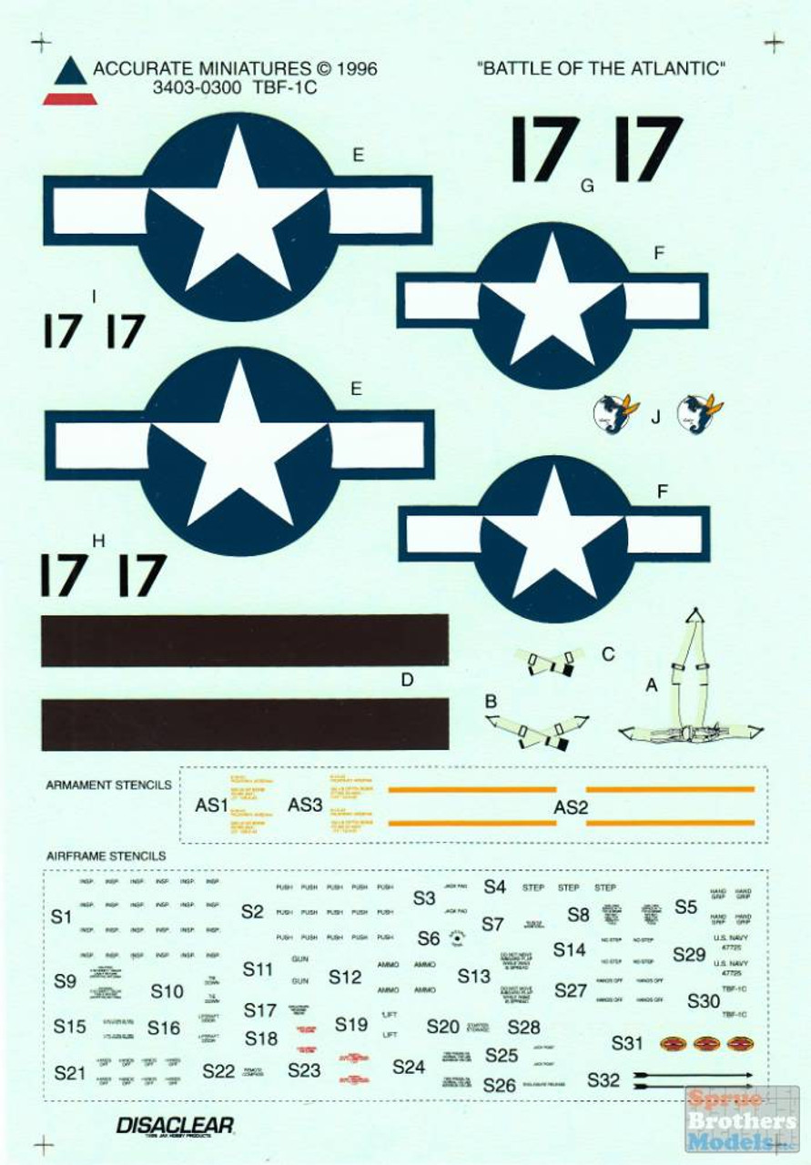 ACMD3403 1:48 Accurate Miniatures Decals - TBF-1C Avenger