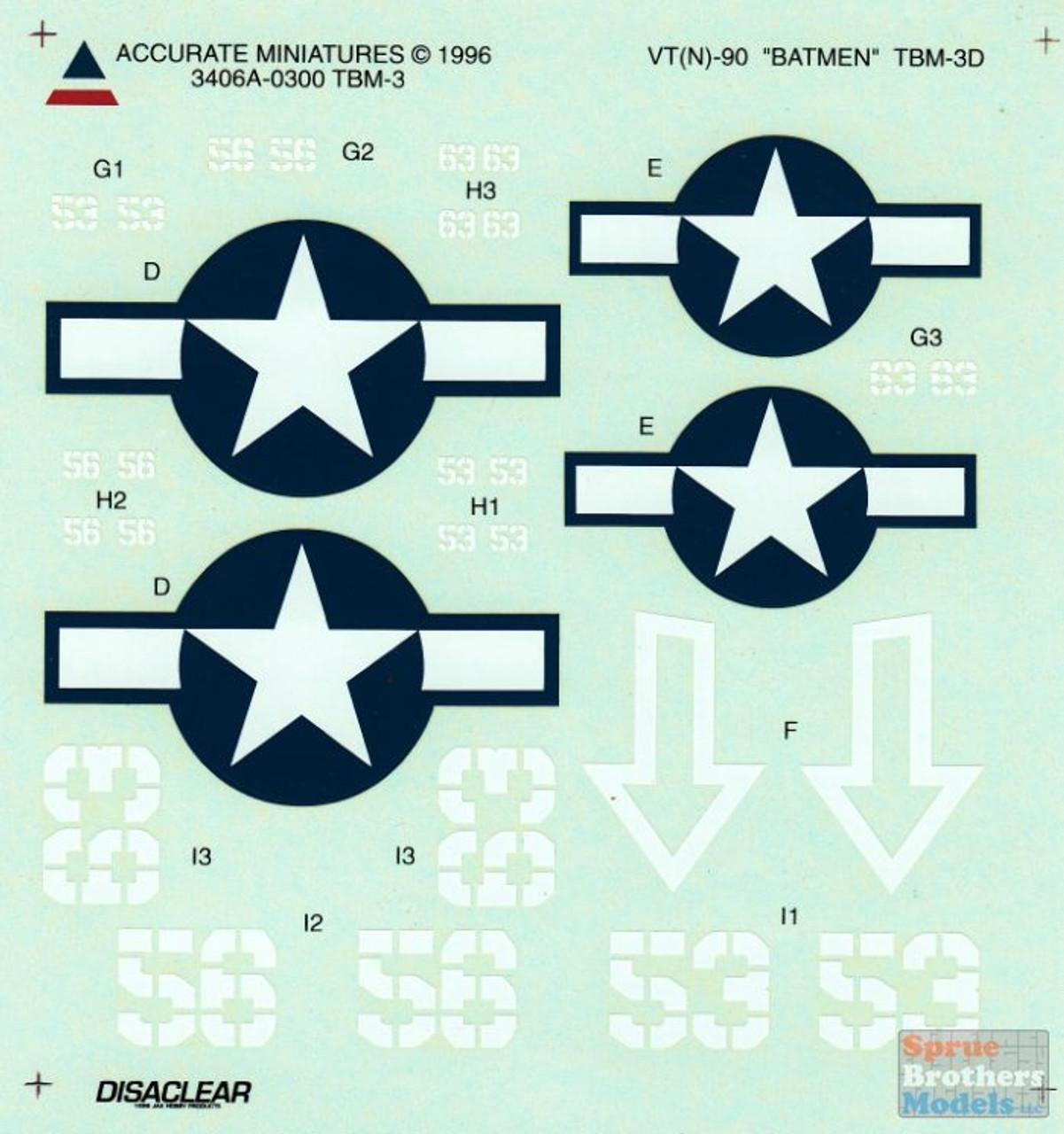 ACMD3406A 1:48 Accurate Miniatures Decals - TBM-3 Avenger VT(N)-90 Batmen