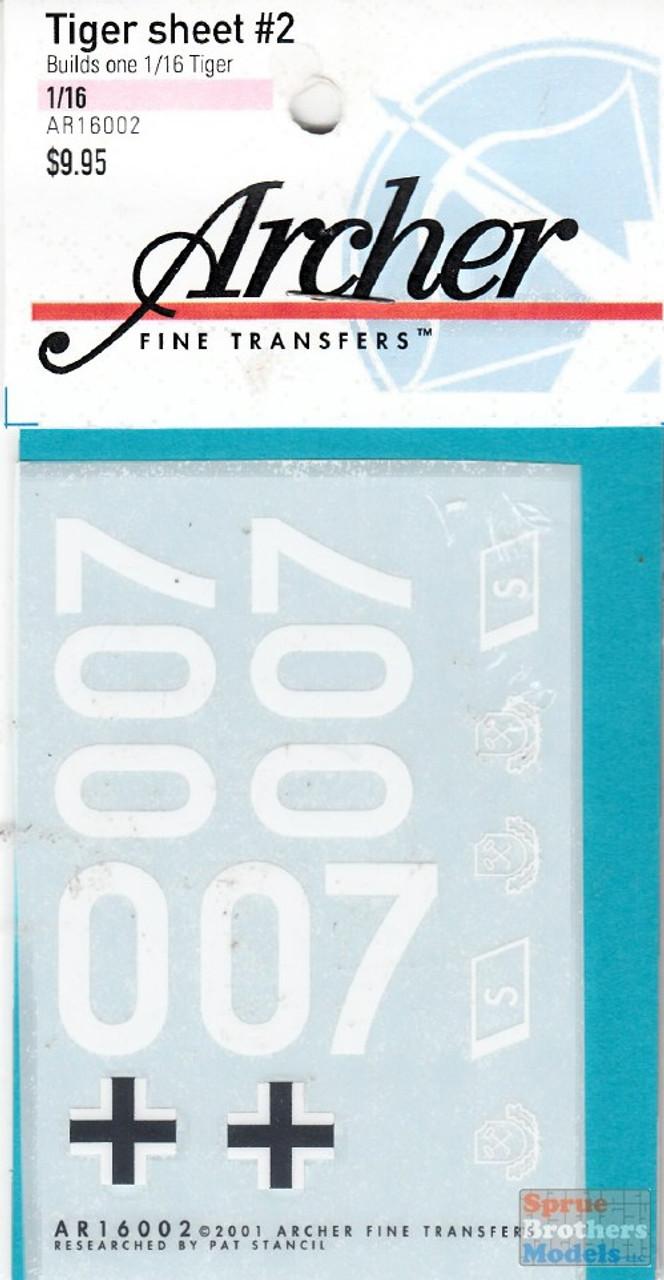ART16002 1:16 Archer Transfers Tiger Sheet #2